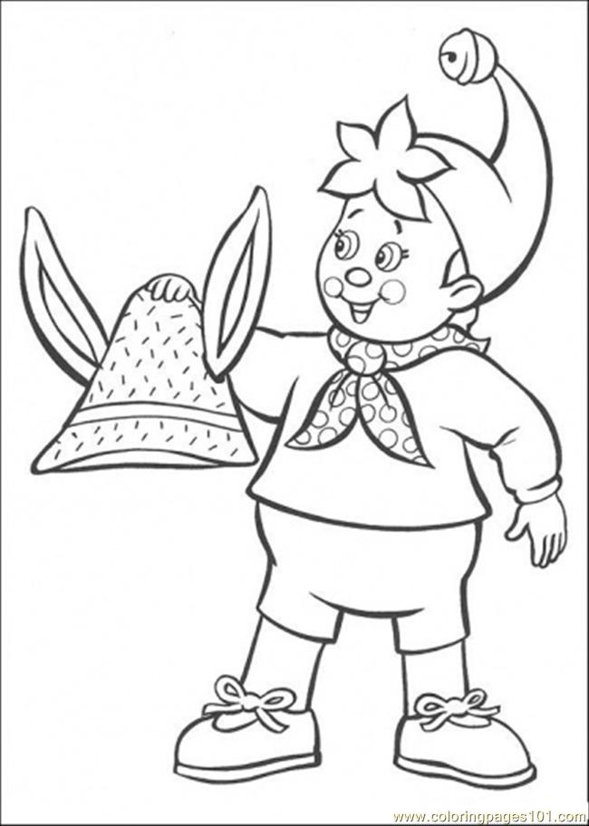 Noddy Holds Rabbit Hat Coloring Page