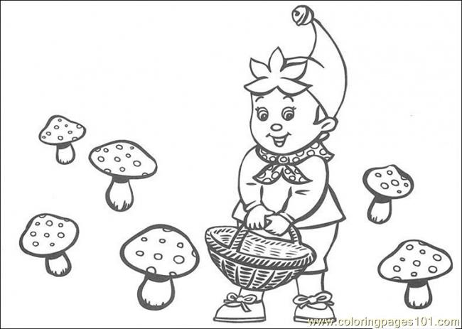 Noddy Is Looking For The Mushroom Coloring Page