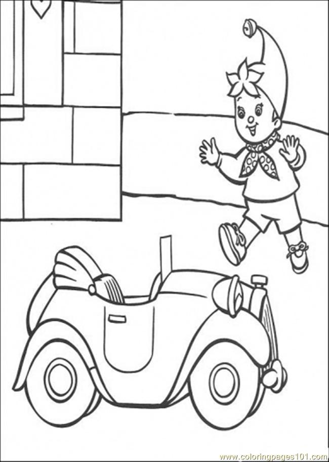 Noddy Runs To The Car Coloring Page