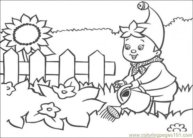 Noddy Waters The Garden Coloring Page