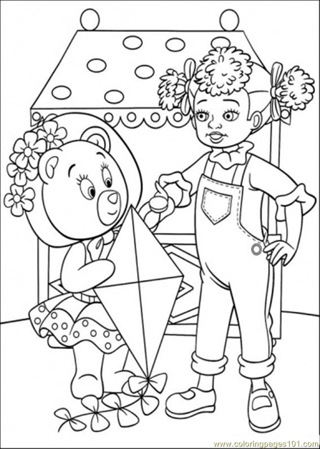 Tessie Bear Gives Kite Coloring Page - Free Noddy Coloring Pages :  ColoringPages101.com