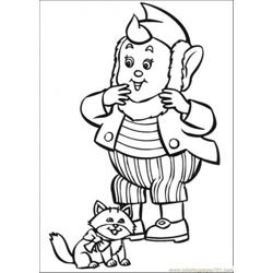 Big Ears And The Cat Free Coloring Page for Kids