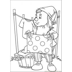 Big Ears Hangs The Clothes Free Coloring Page for Kids