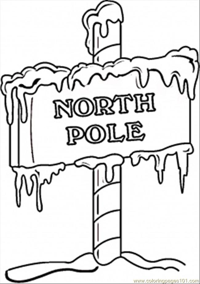North Pole Sign Coloring Page Free North South Poles