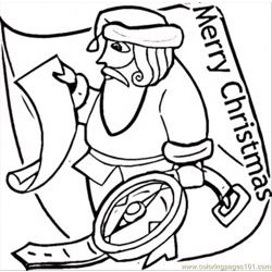 Santa With Compass Free Coloring Page for Kids