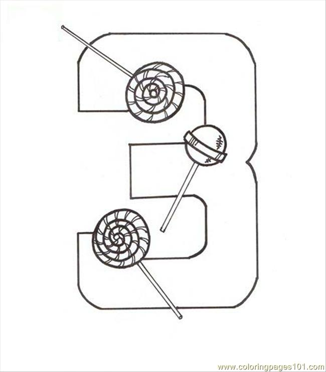 Number Three 3 Coloring Page Coloring Page