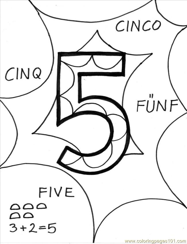 Number%2b5 Coloring Page