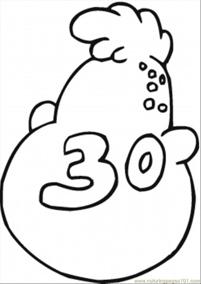Number 30 Coloring Page Free