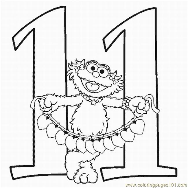 Numbers Coloring Pages 11 Lrg Page