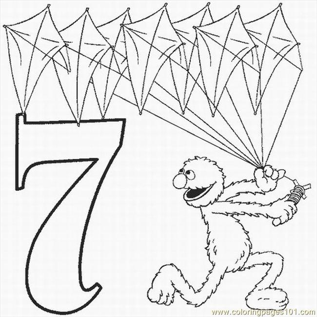 Numbers Coloring Pages 7 Lrg Page