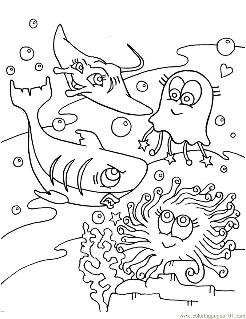 Shark, Jelly Fish in Occean Coloring Page - Free Oceans Coloring ...