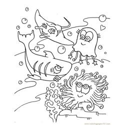 Shark, Jelly Fish in Occean Free Coloring Page for Kids