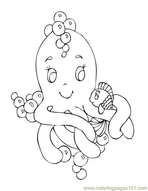 Sealife Octopus Fish Coloring Page