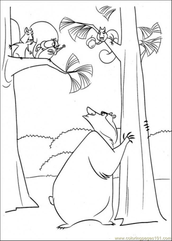 open season coloring pages - boog with some squirrels coloring page free open season