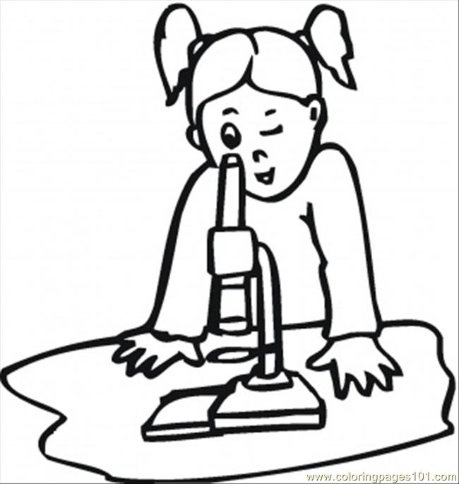 Schoolgirl On The Lesson Of Biology Coloring Page