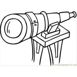 Big Telescope Free Coloring Page for Kids