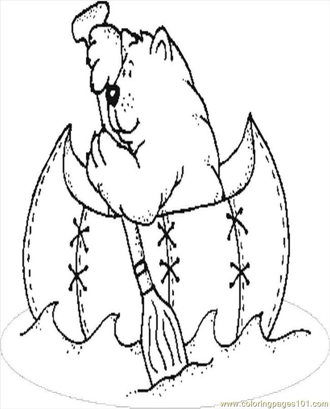 Bear Canoeing Coloring Page