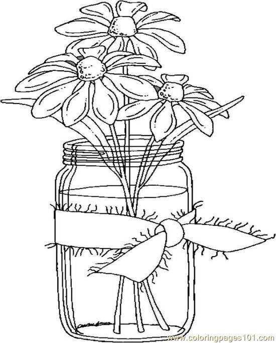 Daisies In A Jar Coloring Page
