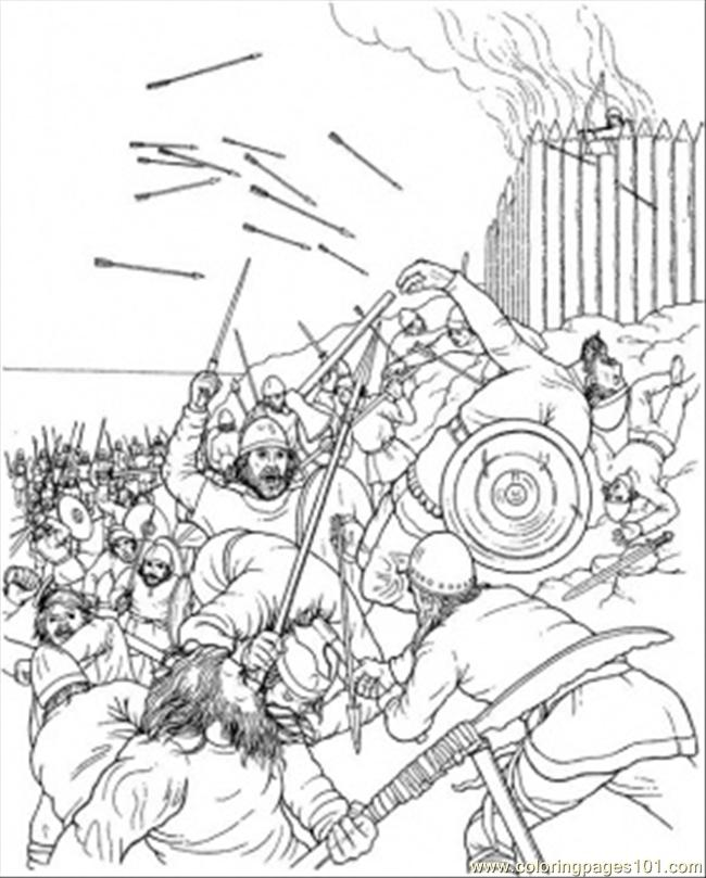 Fight In A Burning Village Coloring Page