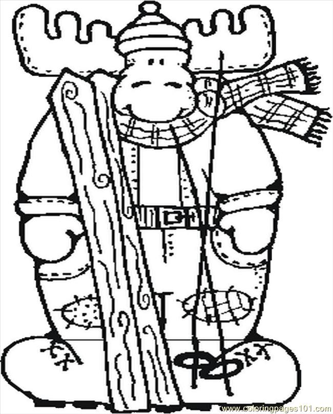 Moose Skiing Coloring Page