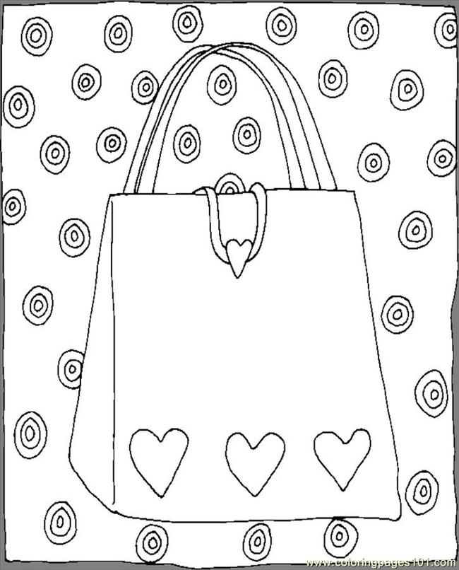 Purse Hearts Coloring Page Free Others Coloring Pages