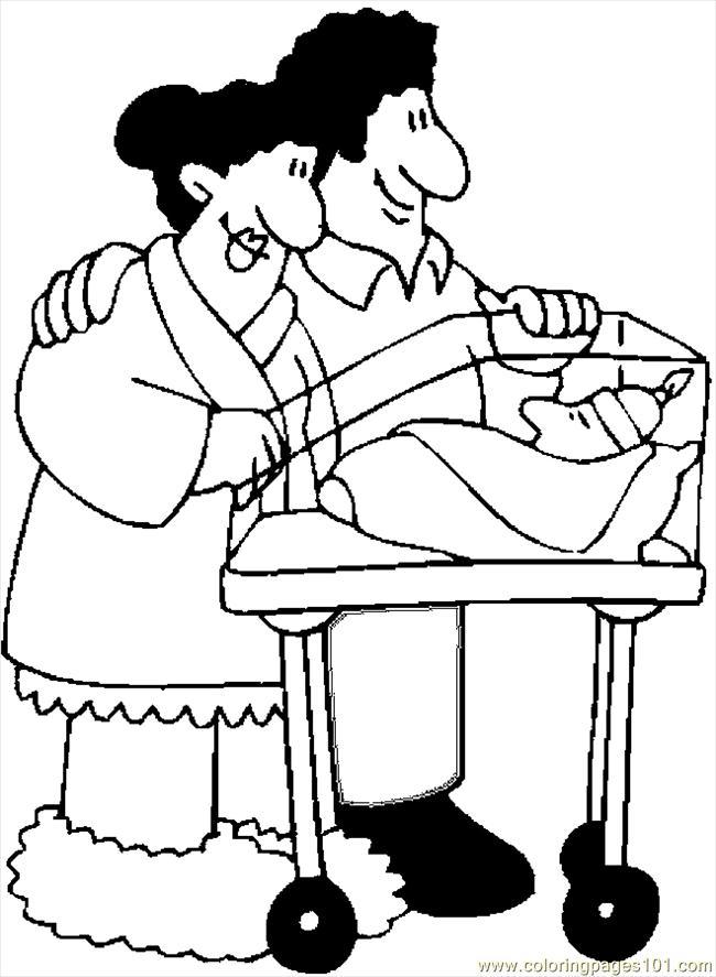 admiring newborn coloring page
