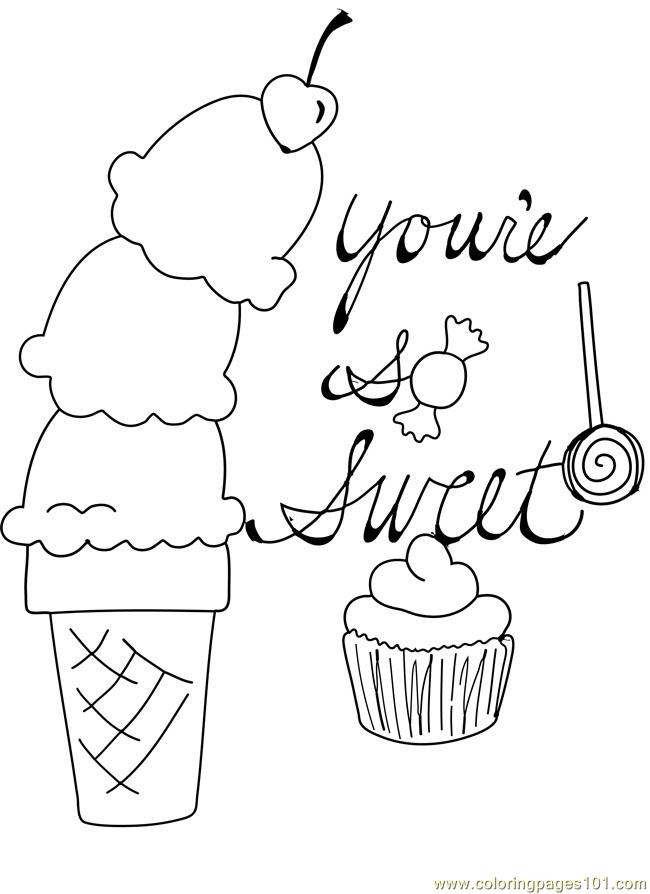 candy cupcake ice cream cone cherry valentine coloring page - Lollipop Coloring Pages Printable