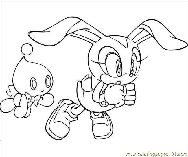 Cream The Rabbit Play Coloring Page