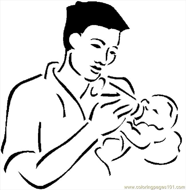 Father Feeding Baby 2 Coloring Page Free Others Coloring