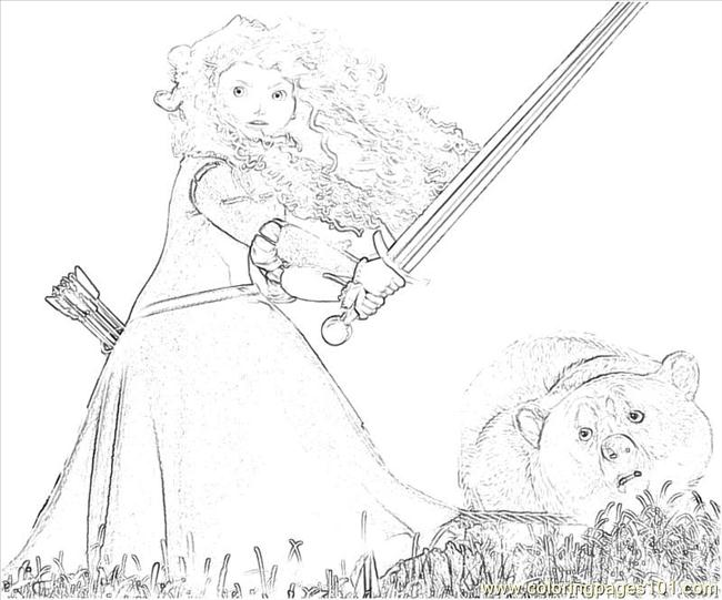 Merida Bear Bw Coloring Page