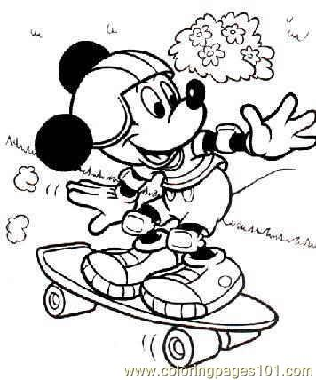 Mickey Mouse Skateboarding Coloring Pages 7 Com Page