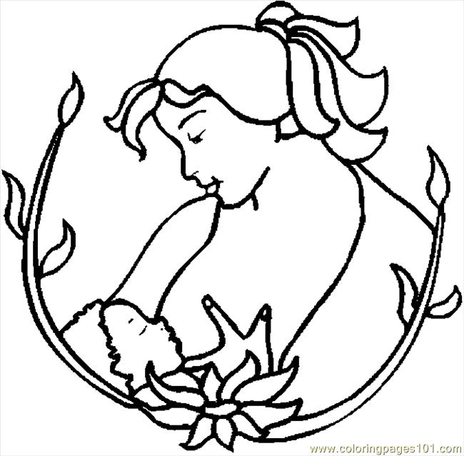 Mother Nursing 4 Coloring Page