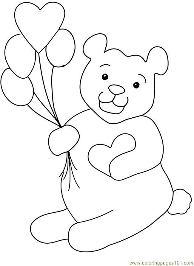 Teddy Bear Valentine Heart Balloon Chocolate Coloring Page