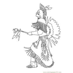 Indian Chief Free Coloring Page for Kids