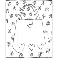 Purse Hearts Free Coloring Page for Kids