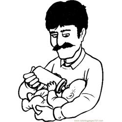 Father Feeding Baby 1 coloring page