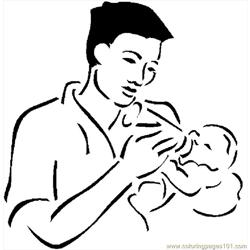 Father Feeding Baby 2 coloring page
