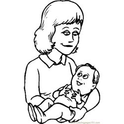 Mother & Infant 04 coloring page