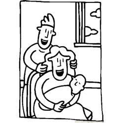 Parents & Infant 02 Free Coloring Page for Kids