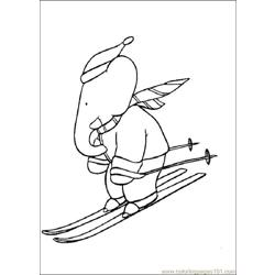 Ski By Babar Coloring Pages 7 Com