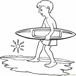 Surfing Boy Coloring Pages 7 Com