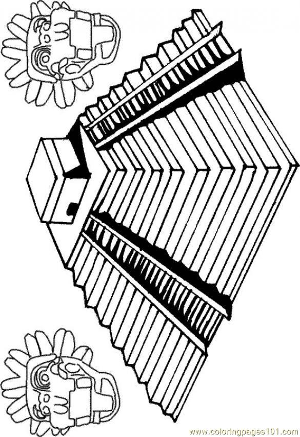 Aztec Coloring Pages Pdf : Une pyramide inca coloring page free others
