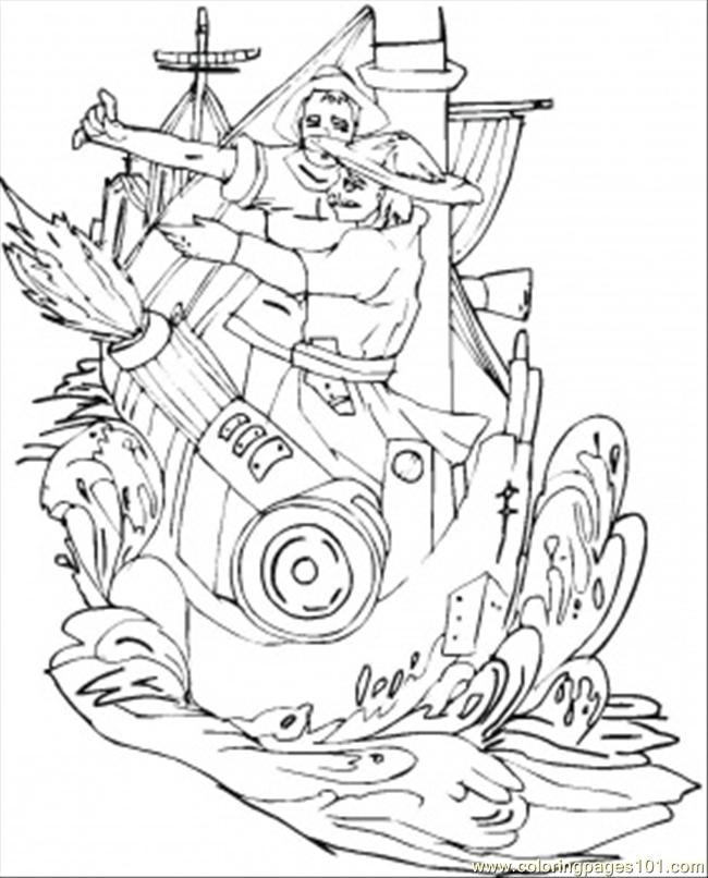 Vikings On The Ship Coloring Page