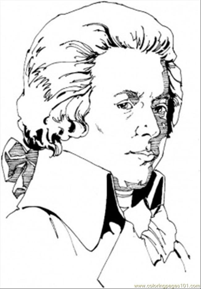 Wolfgang Amadeus Mozart Coloring Page