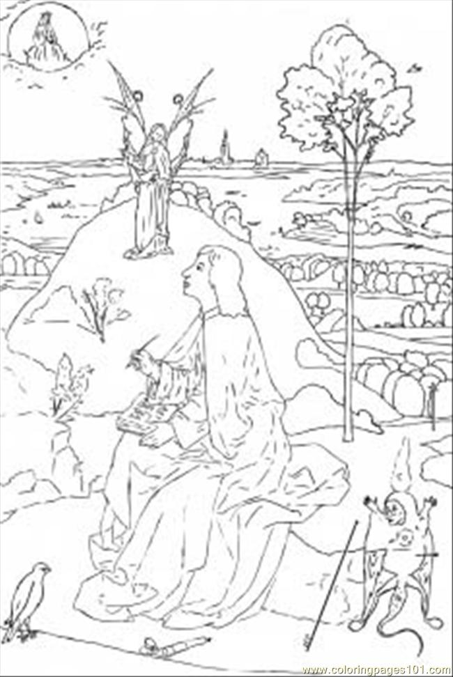 St John The Evangelist On Patmos By Hieronymus Bosch Coloring Page