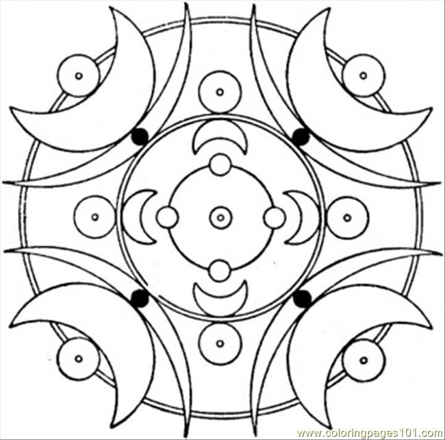 Art Deco With Moons Coloring Page Free Painting Coloring