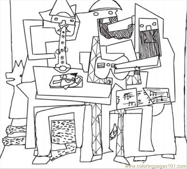 Three Musicians By Pablo Picasso Coloring Page - Free Painting ...