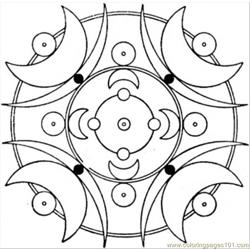 91 Deco With Moons Coloring Page