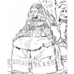 Portrait Of The Infanta Margarita By Diego Velasquez Free Coloring Page for Kids