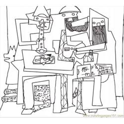 Three Musicians By Pablo Picasso Free Coloring Page for Kids